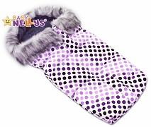 Fusak fialová puntík ESKYMO s kožíškem
