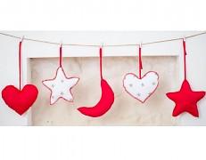 Girlanda bílá hvězda s červenou