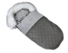 Fusak šedý prošívaný, velvet s kožešinkou