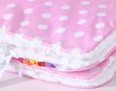 Deka růžový puntík s bílou