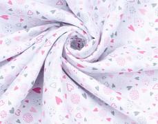 Dětský spací pytel srdíčko růžovo-šedé, mušelín s nohavičkou