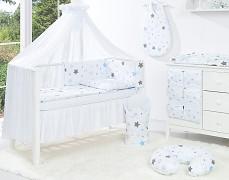 Vybavení dětské postýlky modro-šedá stars