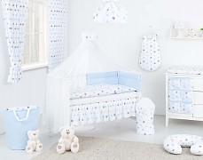 Vybavení dětské postýlky modro-šedé hvězdičky