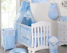 Vybavení dětské postýlky modrý zajíček