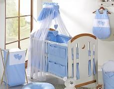 Vybavení dětské postýlky modrá srdíčka