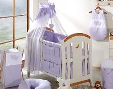 Vybavení dětské postýlky fialová srdíčka