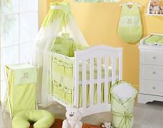 Vybavení dětské postýlky zelený obláček kostička