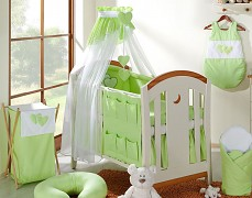 Vybavení dětské postýlky zelená srdíčka