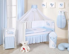 Vybavení dětské postýlky modré sovky