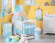 Vybavení dětské postýlky modrý hlemýžď