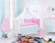 Vybavení dětské postýlky růžovo-tyrkysové