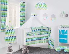 Vybavení dětské postýlky zeleno-modrý ZigZag