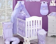 Vybavení dětské postýlky fialový obláček kostička