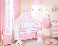 Vybavení dětské postýlky růžové sovky