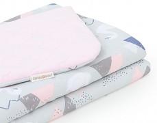 Dětská deka šedo-růžové labutě velvet