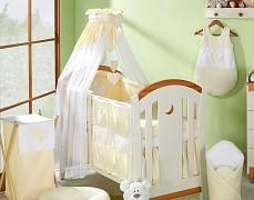 Vybavení dětské postýlky krémová srdíčka
