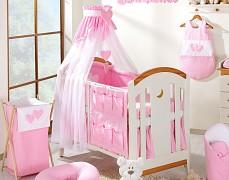 Vybavení dětské postýlky růžová srdíčka