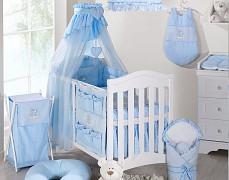 Vybavení dětské postýlky modrý obláček kostička