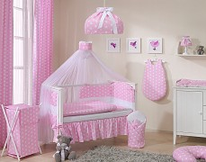 Vybavení dětské postýlky růžový puntík