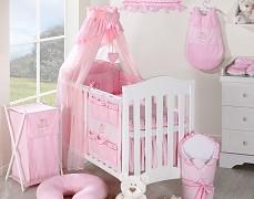 Vybavení dětské postýlky růžový obláček kostička