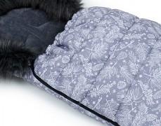Fusak šedý floral s šedým kožíškem