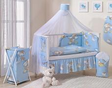 Vybavení postýlky modré se spícími medvídky