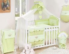 Vybavení dětské postýlky zelená houpačka kostička