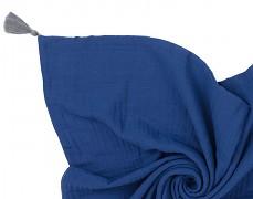 Mušelínová modrá tmavá přikrývka se střapci