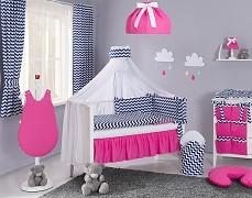 Vybavení dětské postýlky modrý tmavý ZigZag s růžovou