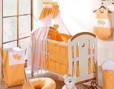 Vybavení dětské postýlky oranžová srdíčka