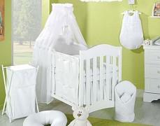 Vybavení dětské postýlky bílá srdíčka