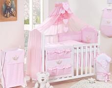 Růžové vybavení dětské postýlky houpačka kostička