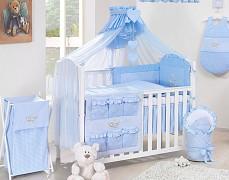 Modré vybavení dětské postýlky houpačka kostička