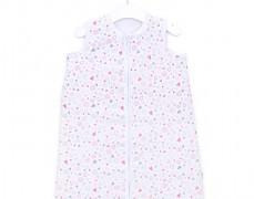 Dětský spací pytel srdíčko růžovo-šedé, mušelín