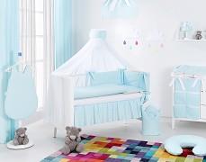 Vybavení dětské postýlky tyrkysová světlá s béžovou a bílou