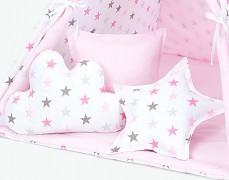 TeePee růžovo-šedé hvězdičky