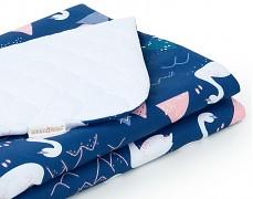 Dětská deka modro-bílé labutě velvet