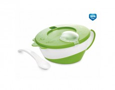 Dětská zelená miska s lžičkou