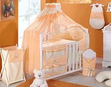 Oranžové vybavení dětské postýlky