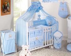 Modré vybavení dětské postýlky