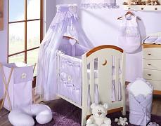 Vybavení dětské postýlky fialový medvídek Love