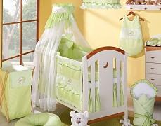 Vybavení dětské postýlky zelený medvídek Love