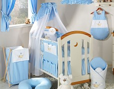 Vybavení dětské postýlky modrá houpačka