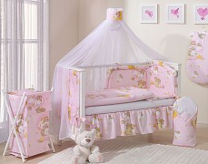 Vybavení postýlky růžové se spícími medvídky