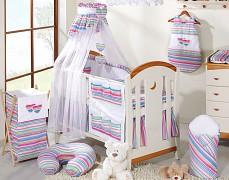 Vybavení dětské postýlky fialové proužky srdíčka