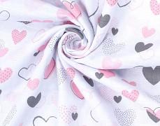 Zavinovací mušelínová plena pink heart růžová elefanti
