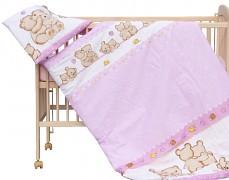 Dětské povlečení růžové medvídci a šnečci