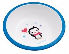 Plastová miska s protiskuzovým dnem modrá Tučňák