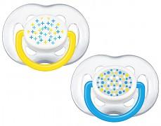 Dudlíky modrá+ žlutá Sensitive 6-18m