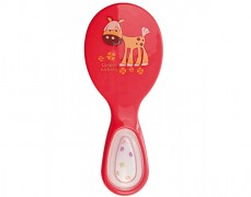 Hřeben a kartáč s chrastítkem červený Happy Animals